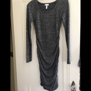 Leith Ruched Dress Charcoal Grey Small